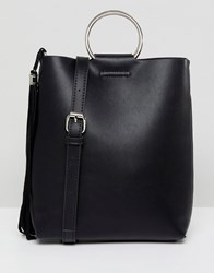 Street Level Black Ring Detail Cross Body Bag