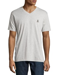 Psycho Bunny Classic Embroidered Logo V Neck Tee High Rise