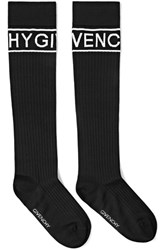 Givenchy Intarsia Ribbed Wool Blend Socks Black