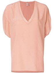 Nude V Neck Fluid Blouse Pink And Purple