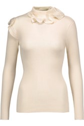 Raoul Ruffled Ribbed Cotton Blend Turtleneck Sweater Cream