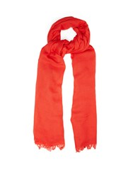 Brunello Cucinelli Fringed Cashmere And Silk Blend Scarf Red