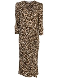 Veronica Beard Ruched Leopard Print Dress Brown