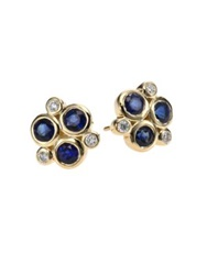 Temple St. Clair Classic Color Sapphire Diamond And 18K Yellow Gold Trio Earrings Blue Sapphire