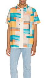 Native Youth Cubik Short Sleeve Shirt In Blue Orange. Multi