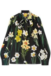 Dolce And Gabbana Pussy Bow Floral Print Silk Crepe De Chine Blouse Black