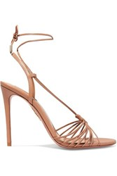 Aquazzura Whisper 105 Leather Sandals Antique Rose