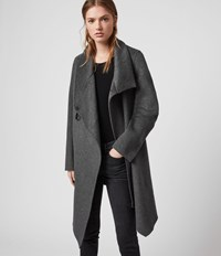 Allsaints Monument Eve Coat Charcoal Grey