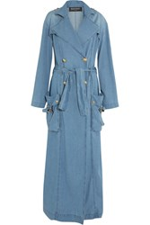 Balmain Double Breasted Denim Trench Coat Light Denim