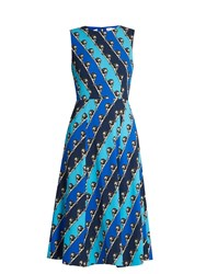 Mary Katrantzou Osmond Striped Lion Print Crepe Dress Blue Multi