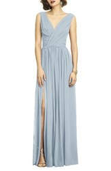 Dessy Collection Women's Surplice Ruched Chiffon Gown Mist