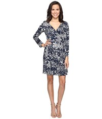 Christin Michaels Rayna Long Sleeve Wrap Dress Navy Cream Women's Dress