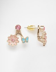 Lipsy Enamel Flower And Butterfly Drop Earrings Multi