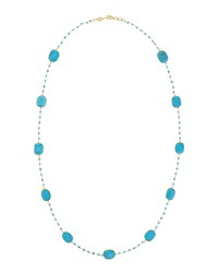 Bettina Duncan Long 14K Gold Filled Turquoise Station Necklace Women's