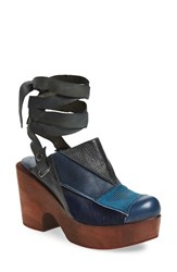 Free People Women's 'Into The Patchwork' Clog Navy Combo Leather