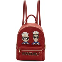 Dolce And Gabbana Red Small Vulcano Backpack