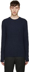 Tiger Of Sweden Navy Cable Knit Lauel Sweater