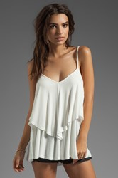 Rachel Pally Exclusive Rib Ruffle Top White