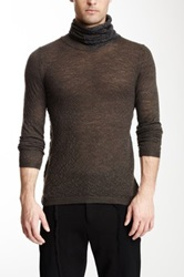 Emporio Armani Textured Wool Blend Turtleneck Gray