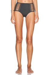Les Coquines Margaux Mesh Pin Up Bikini Bottom Charcoal