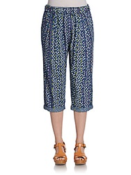 Plenty By Tracy Reese Printed Cotton High Waist Cropped Pants Multi