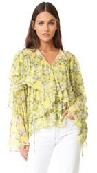 Robert Rodriguez Floral Printed Ruffle Top Yellow Floral