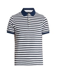 Etro Striped Terry Towelling Polo Shirt Navy