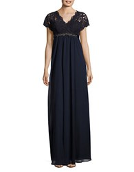 Teri Jon Embellished Lace Trimmed Gown Navy