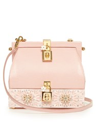 Dolce And Gabbana Rosa Retro Lizard Effect Leather Bag Light Pink