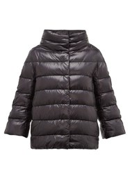 Herno Velvet Stripe Quilted Down Jacket Black