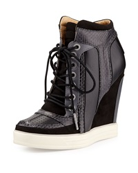 L.A.M.B. Summer Snake Print Wedge Sneaker Black
