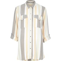 River Island Womens Cream Stripe Relaxed Fit Shirt