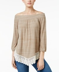 Styleandco. Style Co. Crochet Hem Bishop Sleeve Top Only At Macy's Neutral Combo