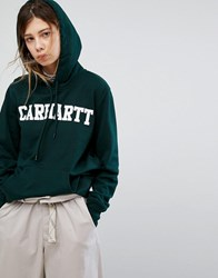 Carhartt Wip Oversized Hoodie With College Logo Parsley White Green