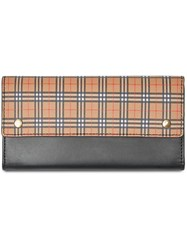 Burberry Small Scale Check And Leather Continental Wallet Black