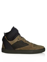 Balenciaga Multi Panel Suede High Top Trainers Khaki