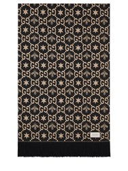 Gucci Gg Patterned Wool Blend Throw W Fringes Beige