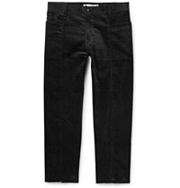 Sasquatchfabrix. Slim Fit Cropped Panelled Cotton Blend Corduroy Trousers Black