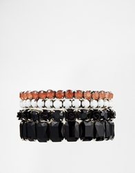Lipsy Stone Stretch Rose Bracelet Blackwhite