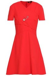 Versus By Versace Embellished Stretch Ponte Mini Dress Red