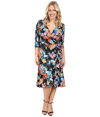 Kiyonna Flirty Flounce Wrap Dress Tropical Print Women's Dress Multi