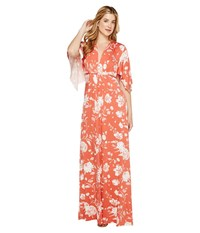 Rachel Pally Long Caftan Dress Chipotle Peony Women's Dress Orange