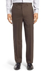Men's Berle Self Sizer Waist Flat Front Wool Trousers Brown