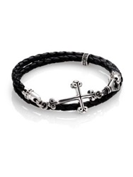 King Baby Studio Cross Double Wrap Leather Bracelet Black Silver