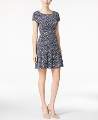 Connected Petite Graphic Print A Line Dress Navy