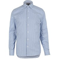 River Island Mensnavy Gingham Contrast Collar Skinny Fit Shirt