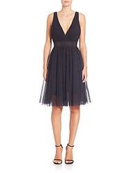 Abs By Allen Schwartz Tulle Fit And Flare Cocktail Dress Navy