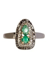 18K Gold And Silver Victorian Diamond And Emerald Pave Ring Green