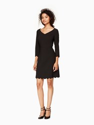 Kate Spade Scallop Hem Crepe Dress Black