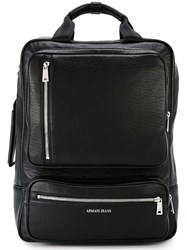 Armani Jeans Square Zipped Backpack Black